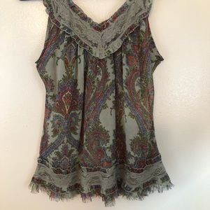 Adorable Passport Sheer Tank Top w/Lace Size Large